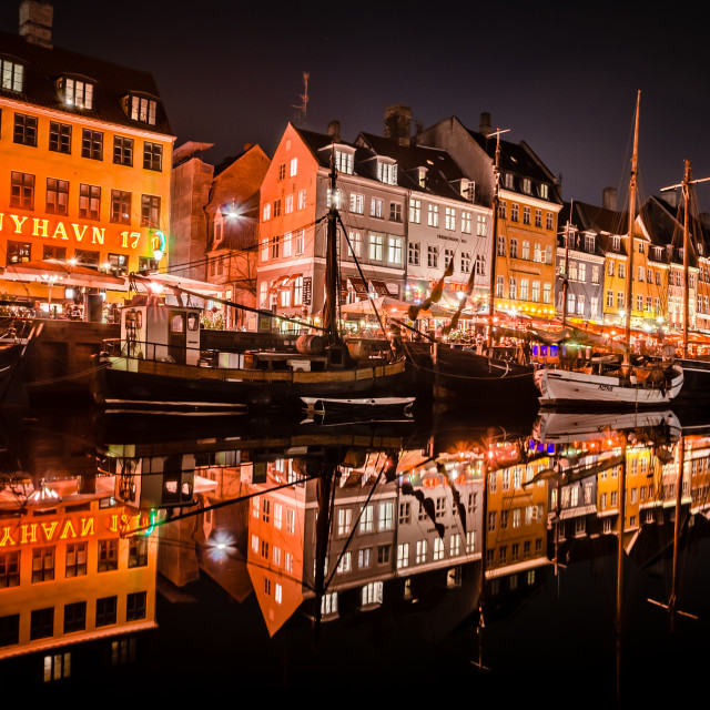 """Nyhavn at night"" stock image"