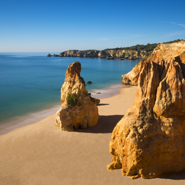 """View of the Vau Beach (Praia do Vau) in Portimao, Algarve, Portugal; Concept for travel in Portugal and Algarve"" stock image"