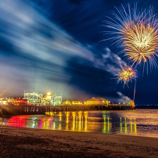 """May Day Fireworks On Clacton Pier"" stock image"