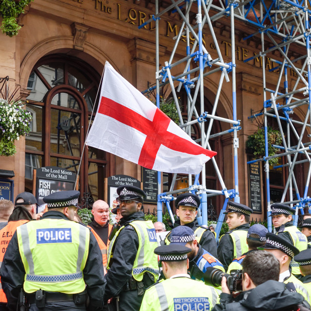 """""""EDL Protest in Whitehall London 2017."""" stock image"""