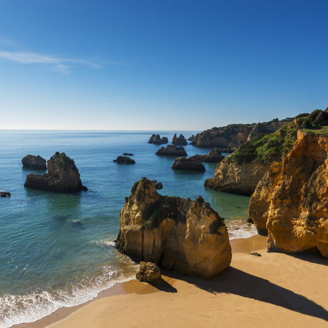 """View of the Alemao Beach (Praia do Alemao) in Portimao, Algarve, Portugal; Concept for travel in Portugal and Algarve"" stock image"