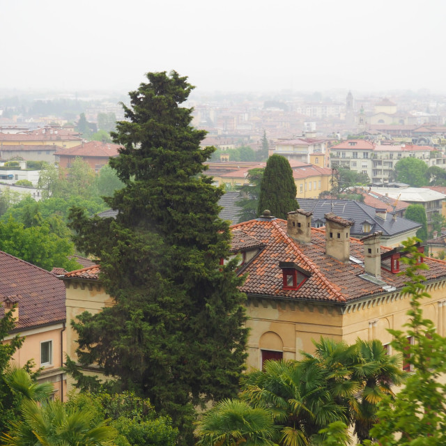 """Rainy day in Bergamo"" stock image"