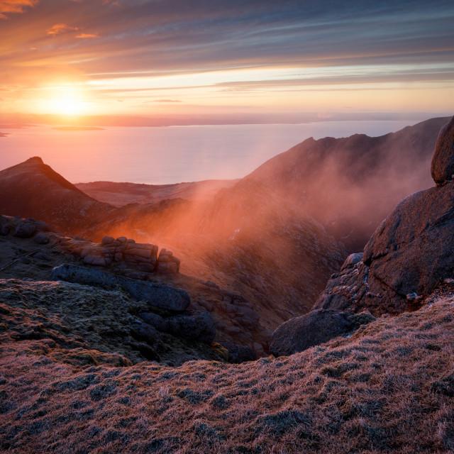 """""""Sunrise on Caisteal Abhail"""" stock image"""