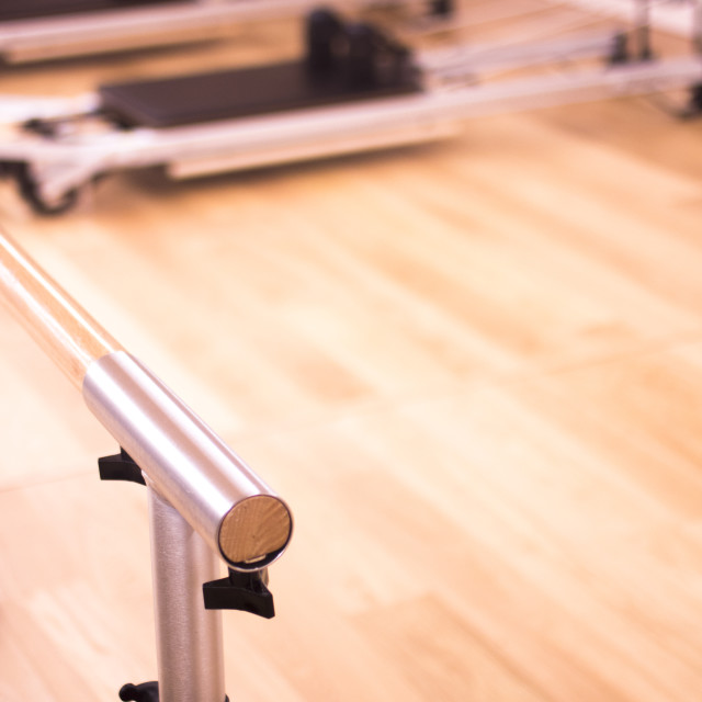 """Pilates equipment in gym"" stock image"
