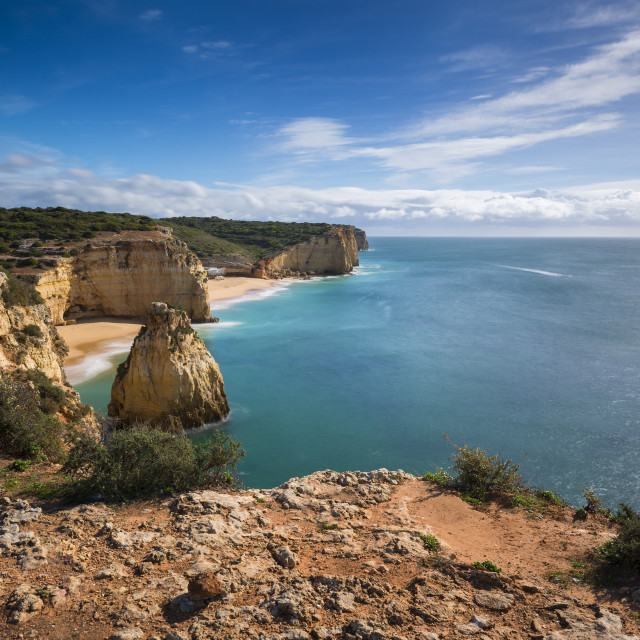 """Stretch of the Algarve coastline and beaches from the Ponta do Altar promontory in Ferragudo, Algarve, Portugal; Concept for travel in Portugal and Algarve"" stock image"