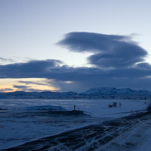 """Dawn over Lake Myvatn"" stock image"