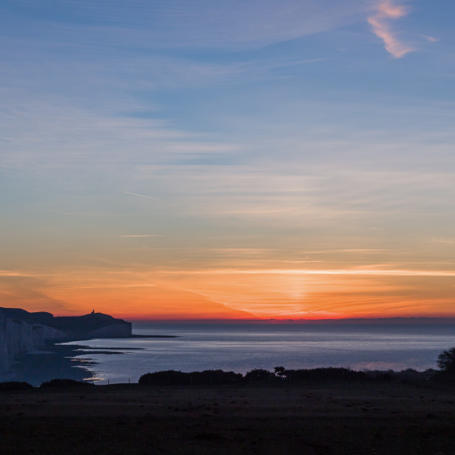 """""""December Sunrise and Seven Sisters"""" stock image"""