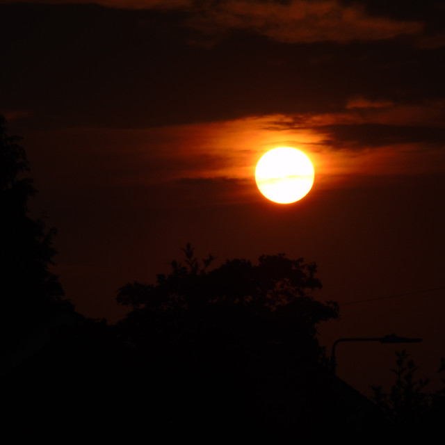 """""""Sun Setting In Manchester"""" stock image"""