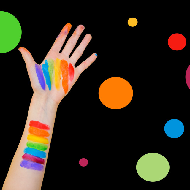 """Color swatch on arm and hand"" stock image"