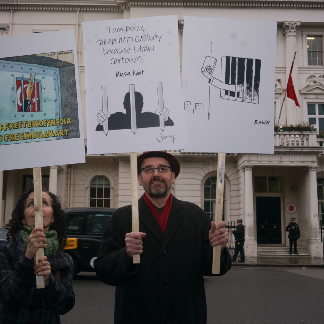 """World Press Freedom Day - Protest outside Turkey Embassy, London, UK"" stock image"