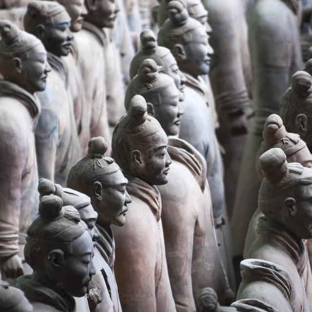 """Detail of a rank of soldiers from the Army of Terracotta Warriors near Xian, Shanxi, China"" stock image"