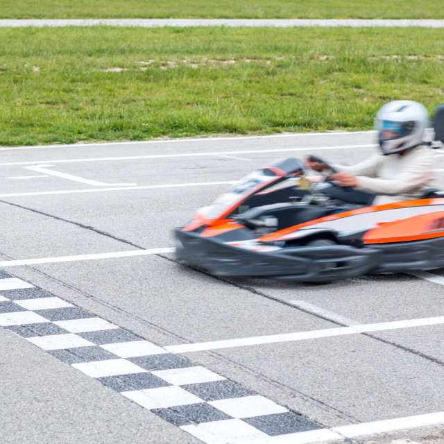 """The winner of the karting race"" stock image"