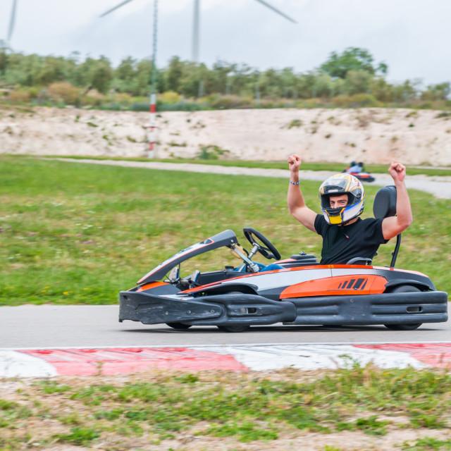 """Winner in a karting race"" stock image"