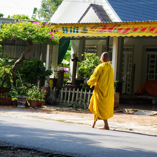 """Monk is walking on a countryside street of Southern Vietnam"" stock image"