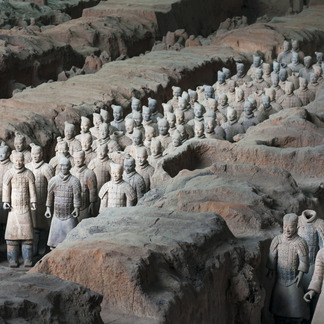 """Xian, China - August 6, 2012: Ranks of Army Terracota Warriors in the archaeological site near Xian, China"" stock image"