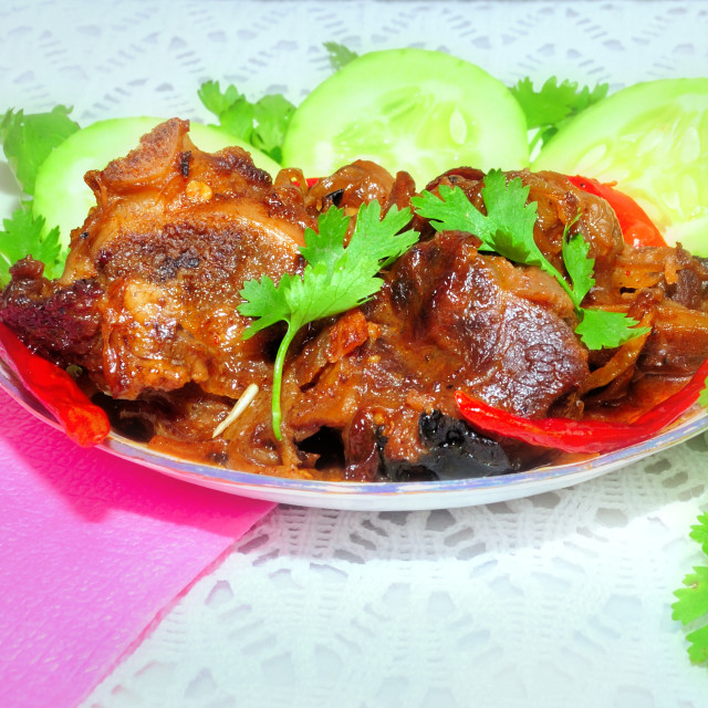"""Indian spicy traditionalnon veg gourmet dish Meat Curry (Meat Korma) with copy space"" stock image"