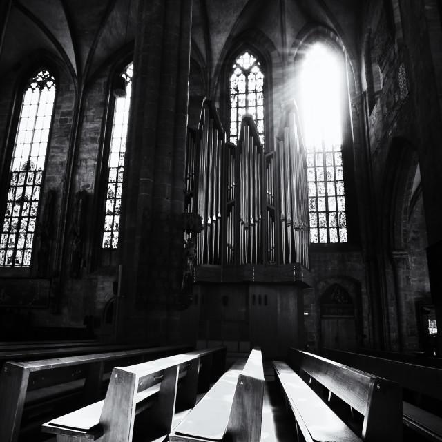 """Dramatic church interior"" stock image"