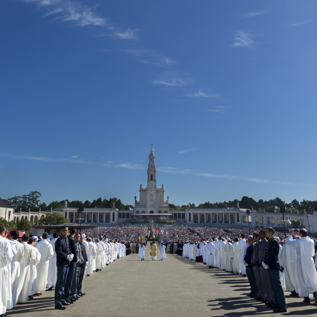 """Fatima, Portugal - May 13, 2014: Crowd of people at the Sanctuary of Fatima during the celebrations of the apparition of the Virgin Mary in Fatima, Portugal."" stock image"