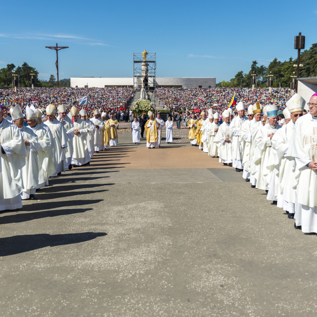 """""""Fatima, Portugal - May 13, 2014: Group of Priests at the Sanctuary of Fatima during the celebrations of the apparition of the Virgin Mary in Fatima, Portugal."""" stock image"""