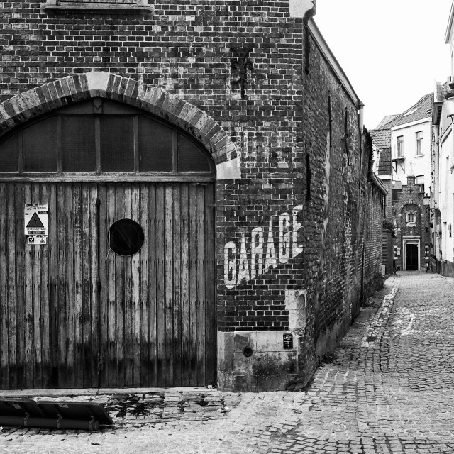 """old garage Bruges"" stock image"