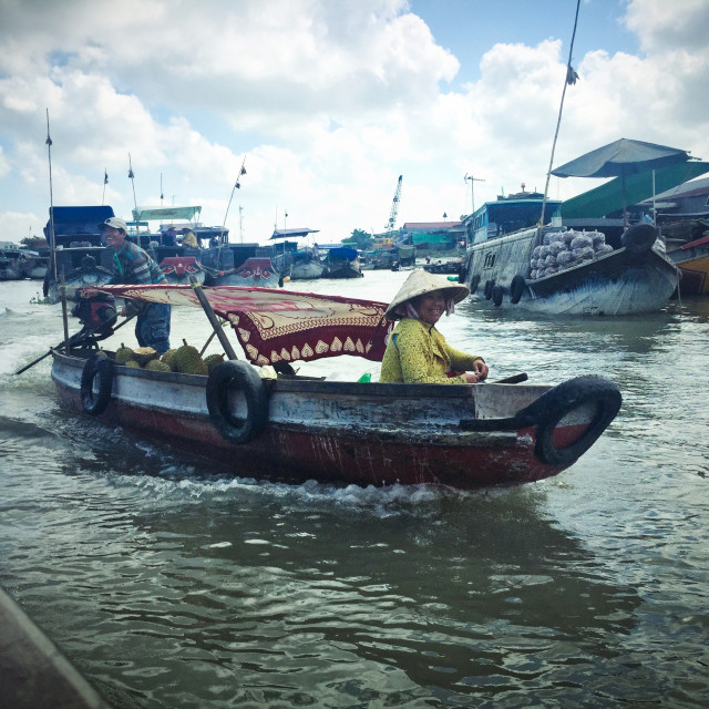 """Boat on the Mekong Delta"" stock image"