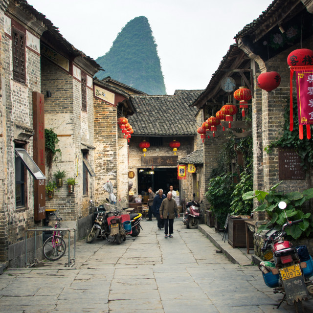 """Residents of Huang Yao Ancient Town street view"" stock image"