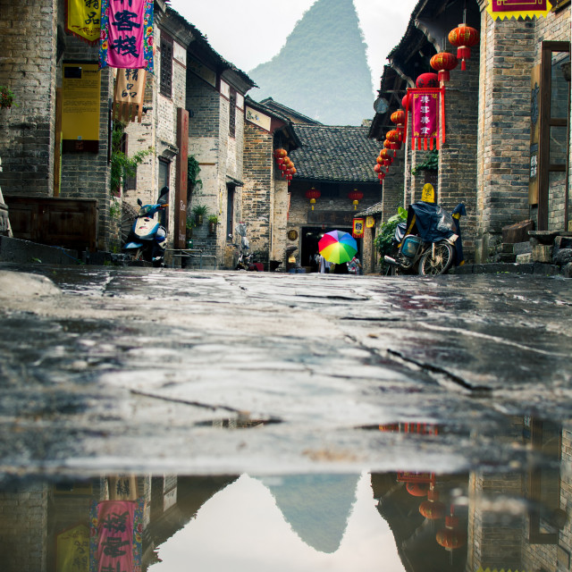 """Huang Yao Ancient Town in Zhaoping county, Guangxi province. Traditional Chinese architecture"" stock image"