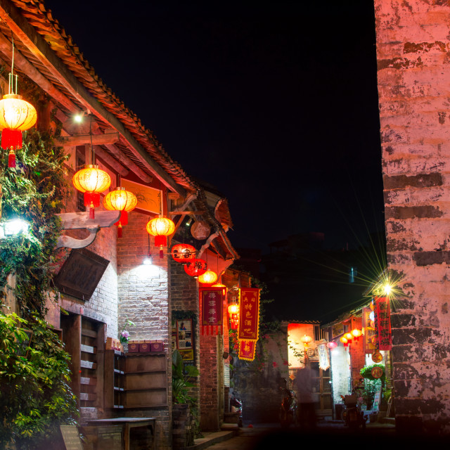 """Huang Yao Ancient Town street in Zh"" stock image"