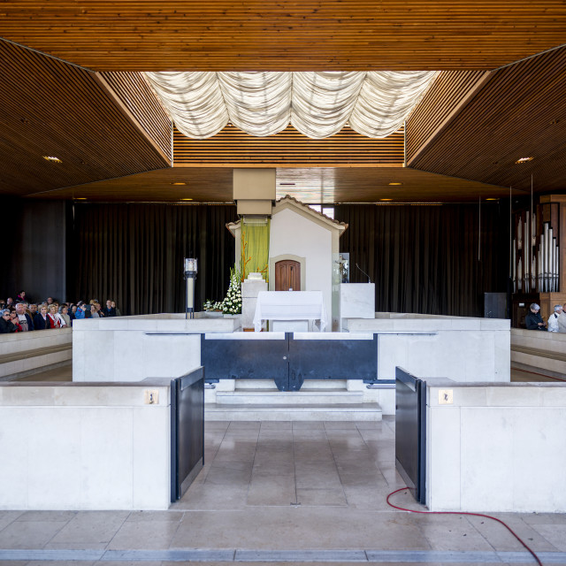 """""""Fatima, Portugal - May 13, 2014: Pilgrims at the Chapel of the Apparitions at the Sanctuary of Fatima during the celebrations of the apparition of the Virgin Mary in Fatima, Portugal."""" stock image"""