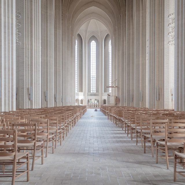 """Inside Grundtvigs Church in Copenhagen"" stock image"