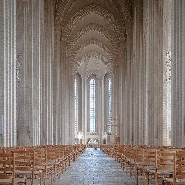 """Looking inside Grundtvigs Church in Copenhagen"" stock image"