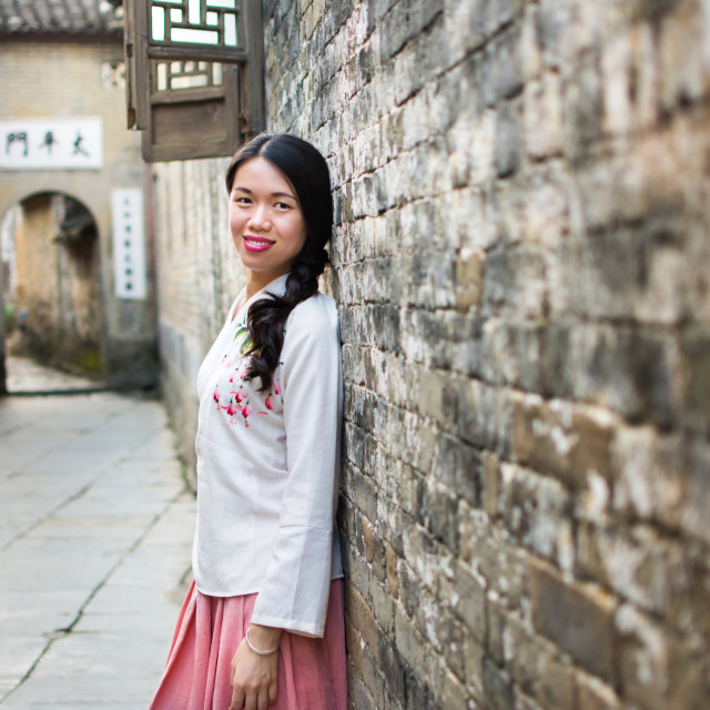 """""""Girl in Han Chinese clothing at old town"""" stock image"""