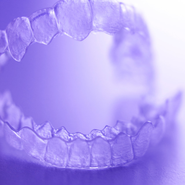 """Invisible plastic dental aligners"" stock image"