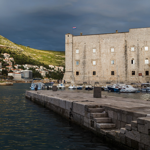 """Stormy skies behind St John's Fortress"" stock image"
