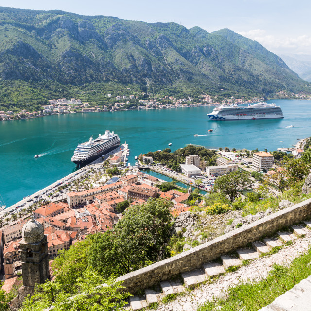"""Kotor surrounded by fortifications"" stock image"
