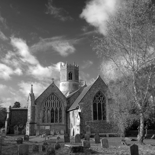 """St Mary's church, Rickinghall village, Suffolk, England, UK"" stock image"