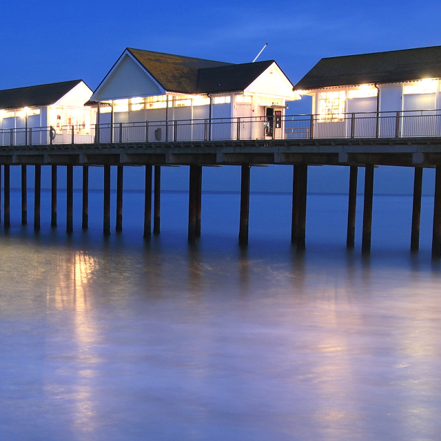 """""""Dusk, Southwold Pier, Southwold town, Suffolk county, England"""" stock image"""