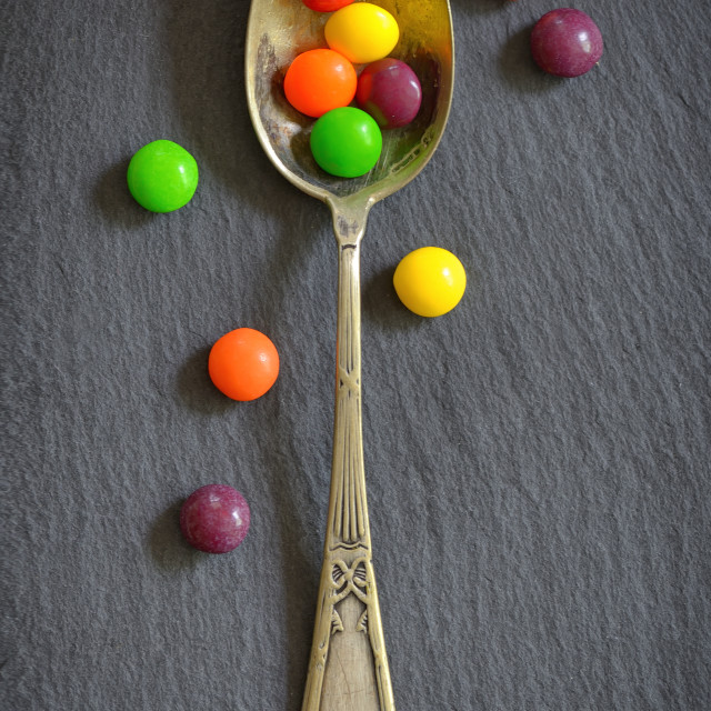 """""""Colorful jelly candies in spoon"""" stock image"""