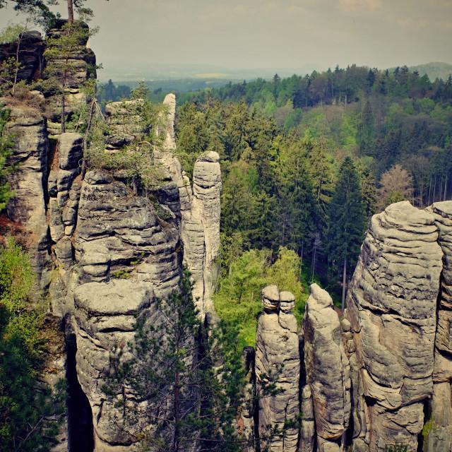"""sandstone rocks in czech republic"" stock image"