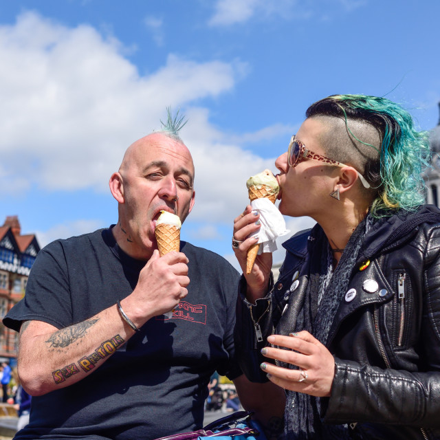 """Punk rockers on Nottinghams old market square ."" stock image"