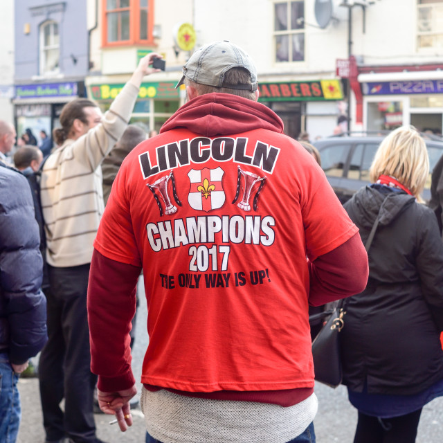 """""""We are Imps , Lincoln City Football fans ."""" stock image"""