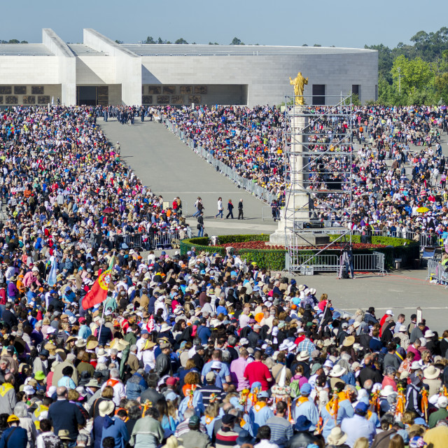 """""""Fatima, Portugal - May 13, 2014: Pilgrims at the Sanctuary of Fatima during the celebrations of the apparition of the Virgin Mary in Fatima, Portugal."""" stock image"""