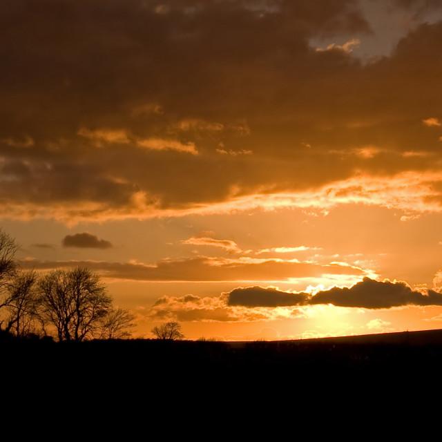 """Cuckmere Valley sunset"" stock image"