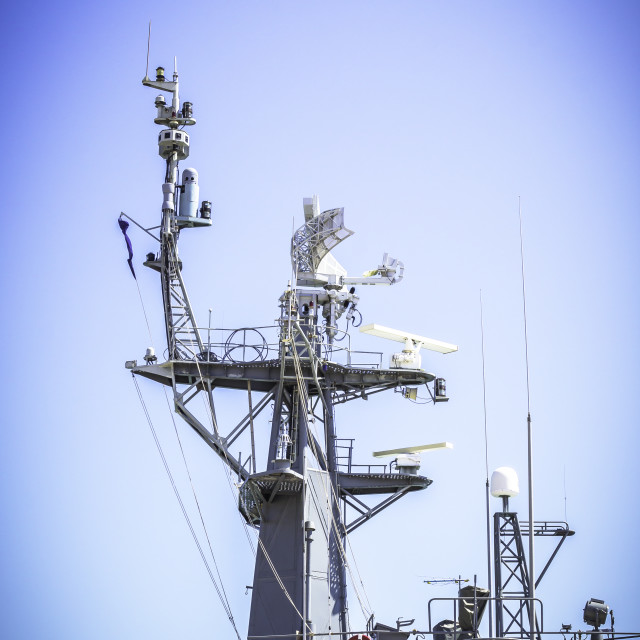 """Radar on battleship"" stock image"