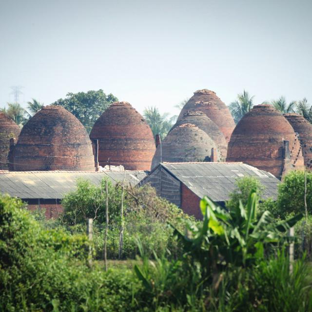"""Brick firing kilns, Mekong Delta, Vietnam"" stock image"