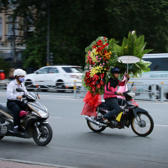 """""""Flower delivery in Ho Chi Minh City"""" stock image"""