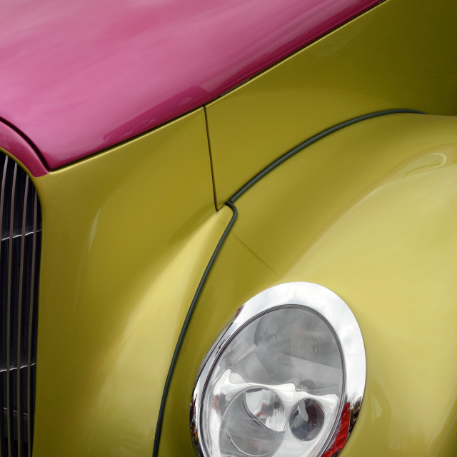 """Brightly painted hot rod"" stock image"