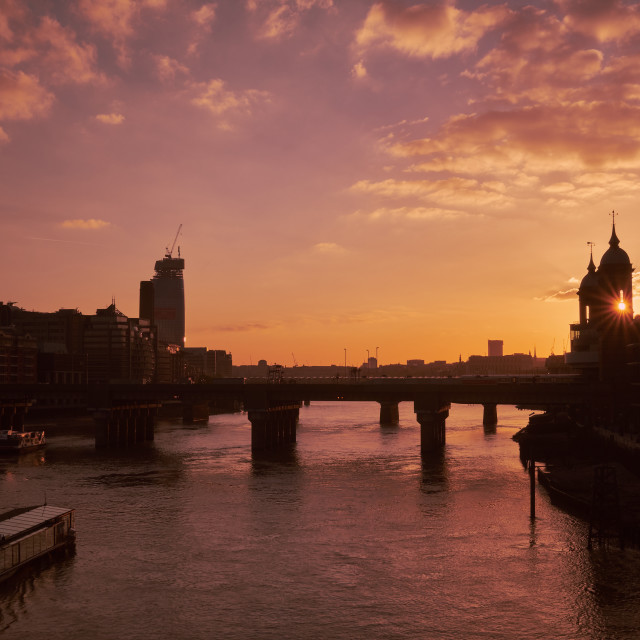 """Sunset on the Thames"" stock image"