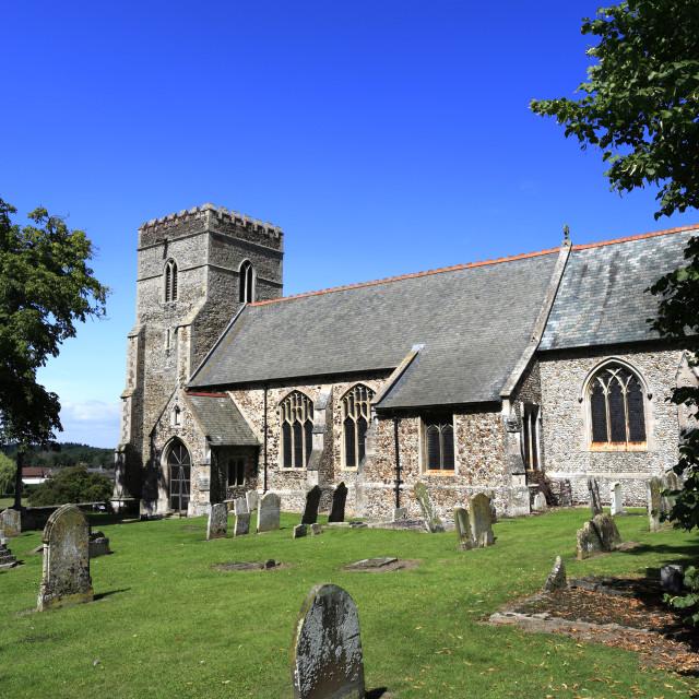 """Summer, All Saints church, Shouldham village, Norfolk county; England; UK"" stock image"