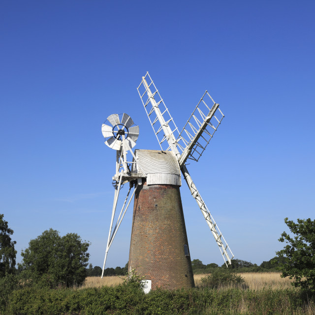 """How Hill Windpump, How Hill Staithe, Norfolk Broads National Park, England, UK"" stock image"